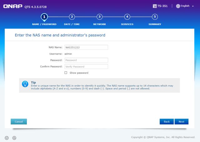 เริ่มต้นด้วยการตั้งชื่อ QNAP NAS และกำหนดรหัสผ่านของ Admin
