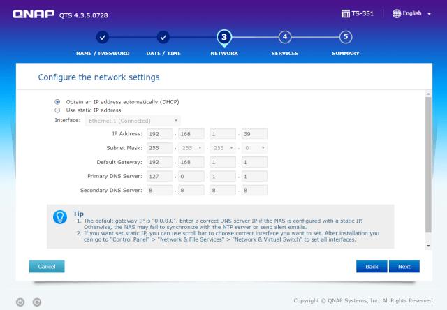 กำหนดค่า IP address ให้ QNAP NAS