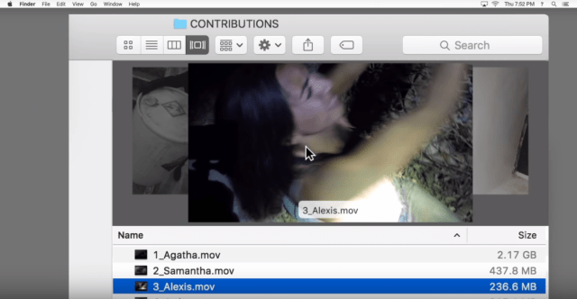 ภาพส่วนหนึ่งของตัวอย่างจากหนัง เป็นหน้าจอที่แสดงรายชื่อวิดีโอฆาตกรรมที่ถูกเก็บเอาไว้ในโฟลเดอร์ลับของคอมพิวเตอร์