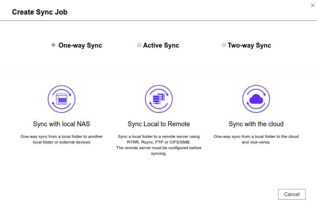 หน้าจอเซ้ตอัพ Hybrid Backup Sync ตอนกำลังสร้าง Sync job