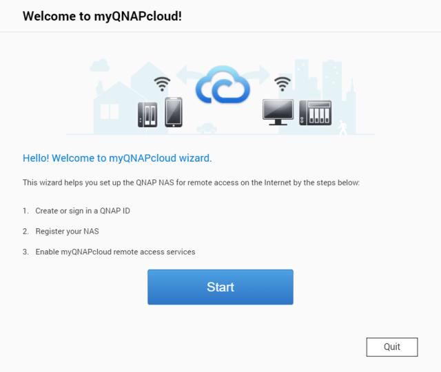 หน้าจอเริ่มติดตั้ง myQNAPcloud มีปุ่ม Start สีน้ำเงินให้คลิกเพื่อเริ่มต้น