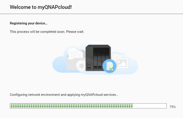 หน้าจอรอการลงทะเบียนอุปกรณ์เข้า myQNAPcloud
