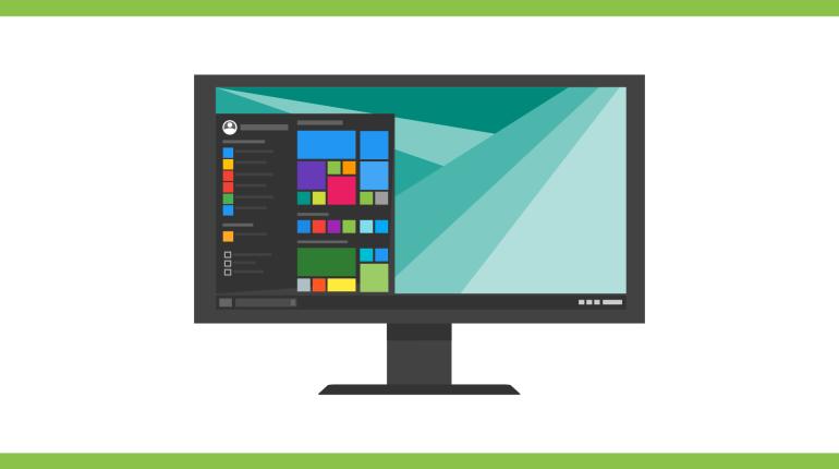 ภาพกราฟิกจำลองหน้าจอของระบบปฏิบัติการ Windows