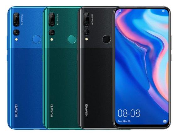 ภาพของสมาร์ทโฟน Huawei Y9 Prime 2019 สีต่างๆ (จากซ้ายไปขวา) น้ำเงิน เขียว และ ดำ ภาพขวาสุดเป็นด้านหน้าของตัวสมาร์ทโฟนสีดำ