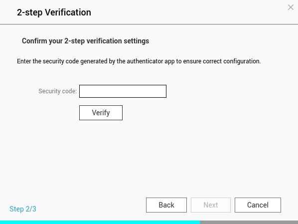 หน้าจอ 2-step Verification ของ QNAP NAS