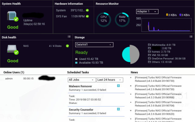 ภาพ Screenshot ของ Dashboard ของ QNAP NAS