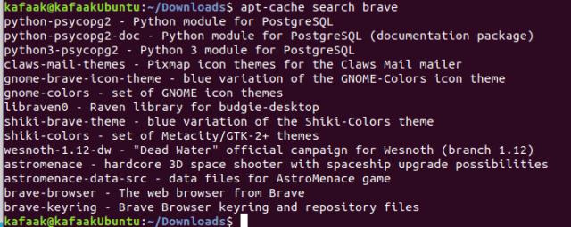 ภาพตัวอย่างหน้าจอหลังรันคำสั่ง apt cache-search