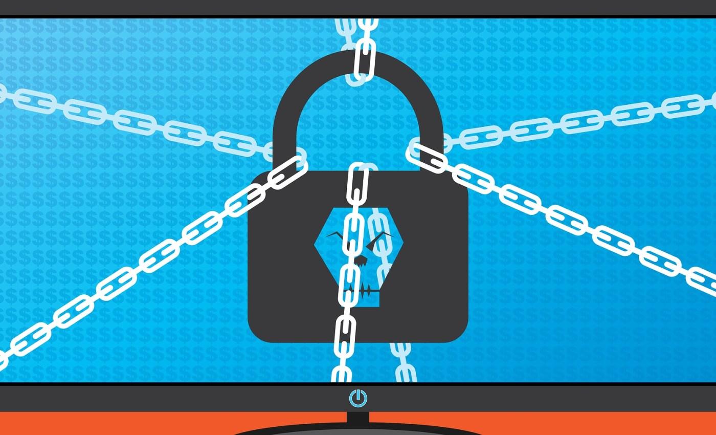 ภาพของหน้าจอคอมพิวเตอร์ ที่มีรูปแม่กุญแจอยู่ตรงกลาง รูกุญแจเป็นรูปหัวกะโหลก และมีโซ่ล่ามอยู่กับแม่กุญแจ 4 เส้น