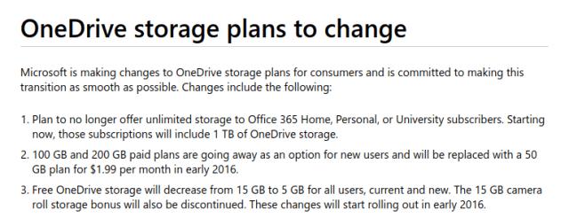 ภาพหน้าจอคำประกาศเปลี่ยนแผนการให้บริการเนื้อที่เก็บข้อมูล OneDrive