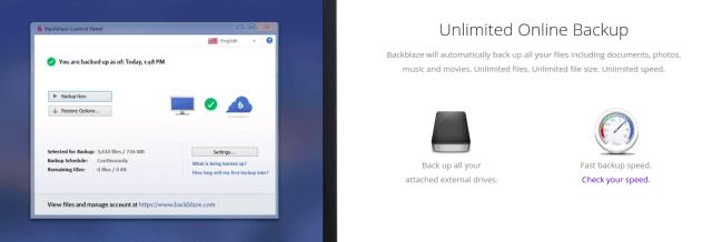 ภาพหน้าจออธิบายบริการ Unlimited Online Backup ของ BlackBlaze