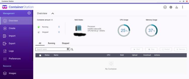 หน้าจอ Dashboard ของ ContainerStation