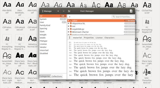 หน้าจอโปรแกรม Font Manager บน Ubuntu Linux