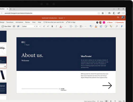 ตัวอย่างหน้าจอโปรแกรม Microsoft PowerPoint Online