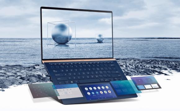 กราฟิกรูปโน้ตบุ๊ก ASUS ZenBook 14 UX434FLC ที่แสดงให้เห็นถึงหน้าจอที่แตกต่างกันของ ScreenPad 2.0