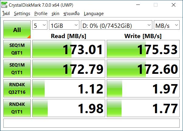 ผลการทดสอบความเร็วในการอ่านและเขียนข้อมูลของ WD My Book 8TB ด้วยโปรแกรม CrystalDiskMark 7.0.0