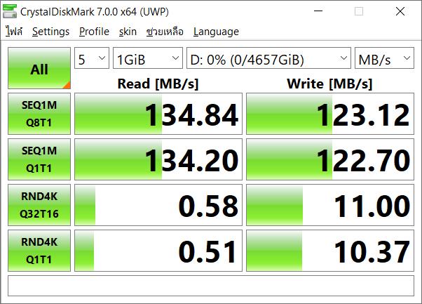 ผลการทดสอบความเร็วในการอ่านและเขียนของฮาร์ดดิสก์ WD My Passport 5TB ด้วยโปรแกรม CrystalDiskMark 7.0.0