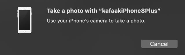 """หน้าต่างป๊อบอัพแสดงข้อความว่า Take a photo with """"kafaakiPhone8Plus"""""""