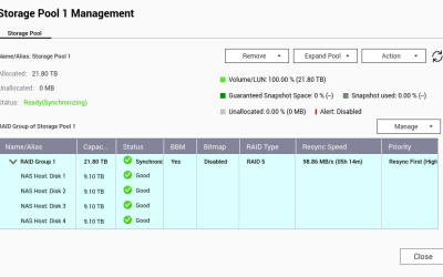 หน้าจอ Storage Pool 1 Management ของ QNAP NAS