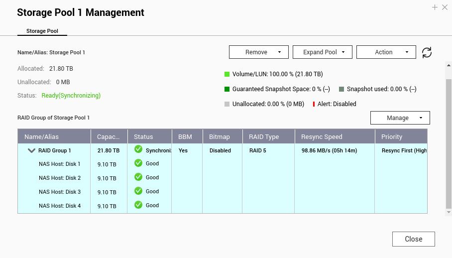 หน้าจอ Storage Pool 1 Management ของ QNAP NAS