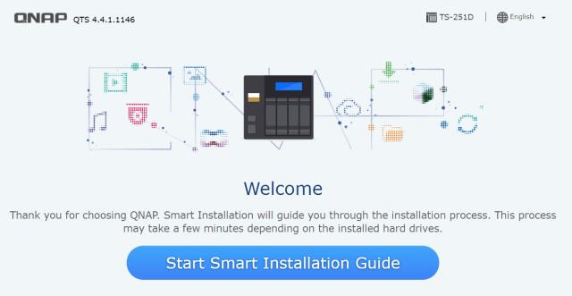 หน้าจอเริ่มต้นของ QNAP Smart Installation