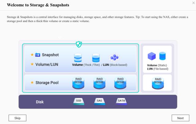 Welcome screen ของหัวข้อ Storage & Snapshots บน QNAP NAS