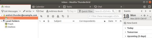 ส่วนหนึ่งของหน้าจอโปรแกรม Thunderbird