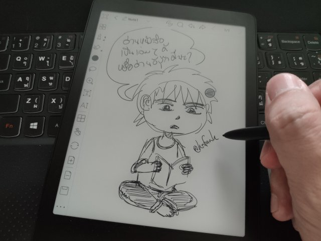 ลองใช้สไตลัสในการวาดและเขียน