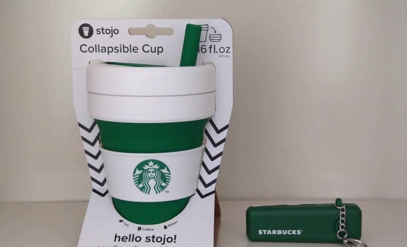 แก้วหดได้ Starbucks x Stojo กับหลอดพบได้สีเขียว