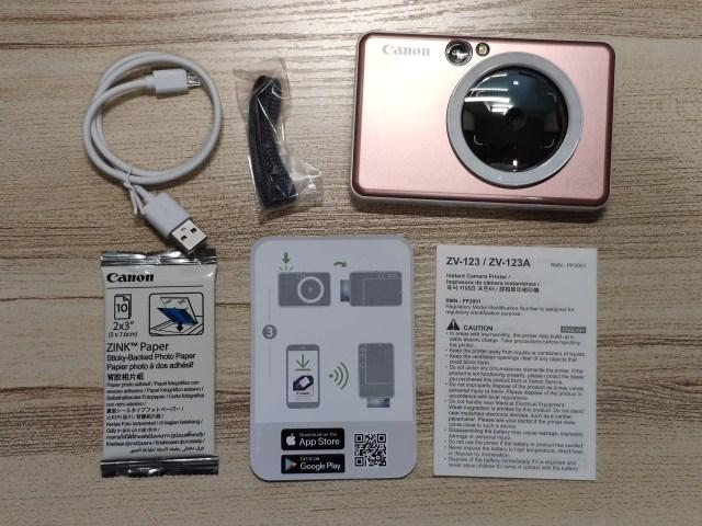 กล้อง CANON iNSPiC S กับอุปกรณ์ต่างๆ ที่มาภายในกล่อง