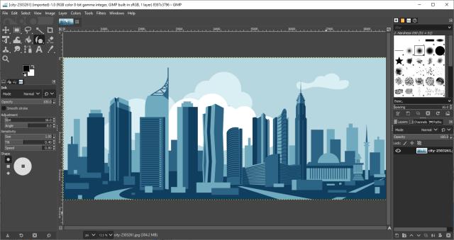 หน้าจอโปรแกรม GIMP 2.10.18