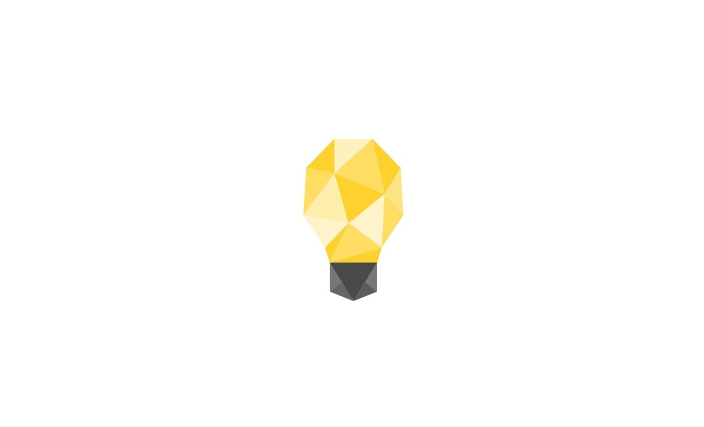 โลโก้ของโซเชียลมีเดียชื่อ Minds เป็นรูปหลอดไฟแบบโพลีกอน สีเหลือง ขั้วหลอดสีเทาดำ