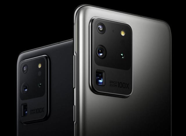 ภาพกราฟิกของสมาร์ทโฟน Samsung Galaxy S20 Ultra ด้านหลัง ที่แสดงให้เห็นกล้อง 4 ตัว