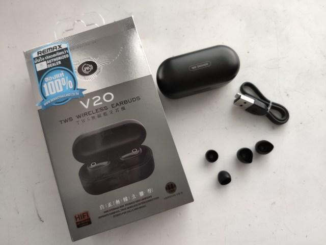 แพ็กเกจของหูฟัง WK Design V20 มีตัวกล่องหูฟังพร้อมหูฟัง สาย