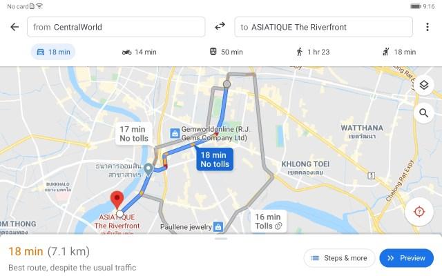 หน้าจอแอป Google Maps กำลังแสดงเส้นทางจาก Central World ไปที่ Asiatique