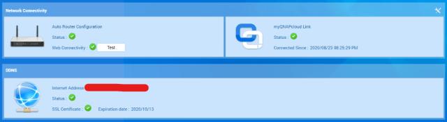 หน้าจอ Overview ของ myQNAPcloud ในส่วนที่เป็น Dashboard แสดงสถานะการเชื่อมต่อกับบริการ