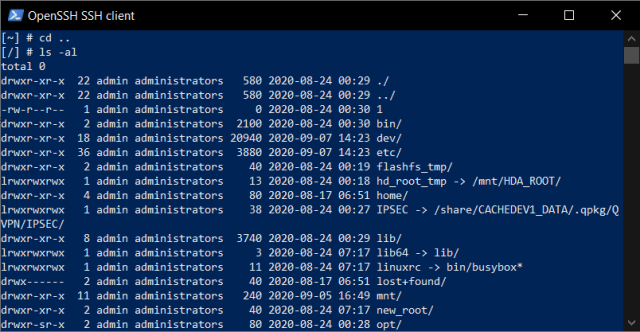 หน้าจอ Windows PowerShell เมื่อเชื่อต่อเข้า QNAP NAS เพื่อเข้าไปดูรายชื่อโฟลเดอร์ต่างๆ ที่ Root director