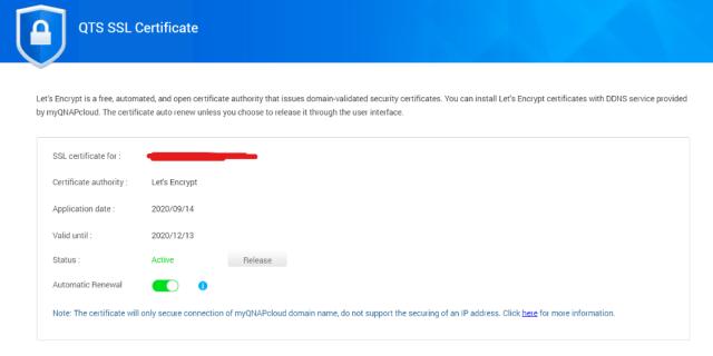 หน้าจอรายละเอียดของ SSL Certificate ของ QNAP NAS