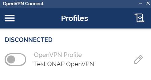 หน้าจอโปรแกรม OpenVPN client ในส่วนของการเชื่อมต่อ VPN ผ่าน Profile ที่ตั้งค่าไว้