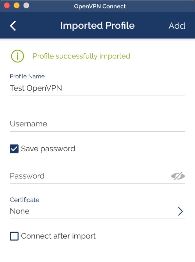 หน้าจอ Imported Profile ของโปรแกรม OpenVPN ในส่วนของการตั้งค่า