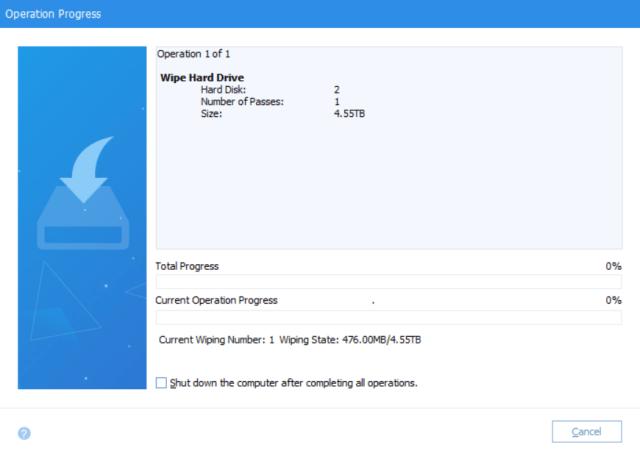 หน้าจอโปรแกรม AOMEI Partition Assistant Standard แสดงสถานะการทำงาน