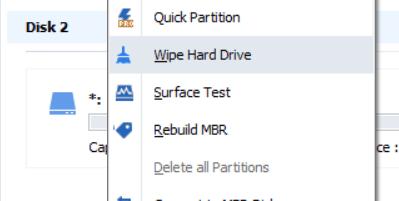 หน้าจอโปรแกรม AOMEI Partition Assistant Standard กำลังเลือก Wipe Hard Drive