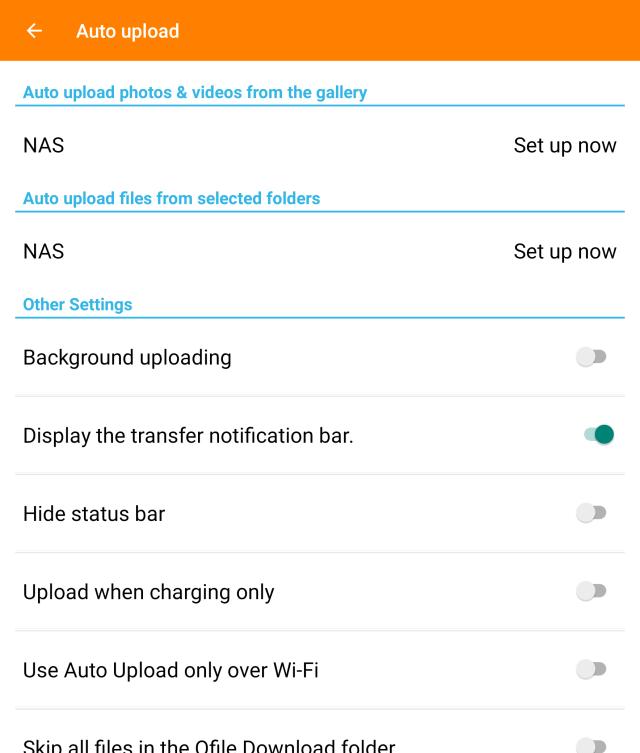 หน้าจอการตั้งค่า Auto upload ของแอป Qfile