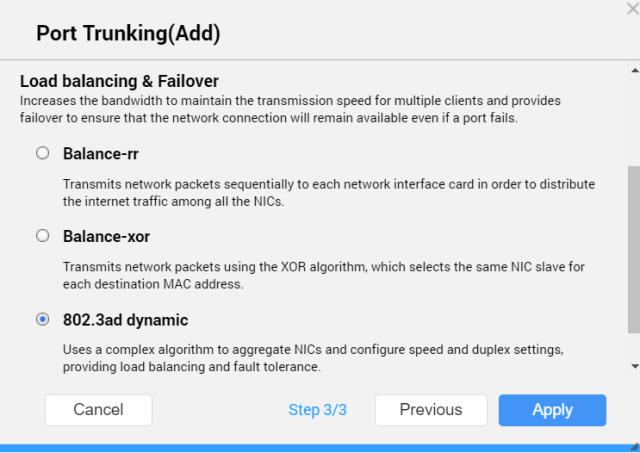 หน้าจอ Port trunking (Add) ของ QNAP NAS ในขั้นตอนที่สาม แสดงตัวเลือกสำหรับการทำ Load balancing & Failover คือ Balance-rr, Balance-xor และ 802.3ad dynamic