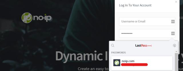 หน้าจอตัวอย่างการใช้ LastPass ช่วยกรอกรหัสผ่านให้เว็บไซต์ no-ip.com