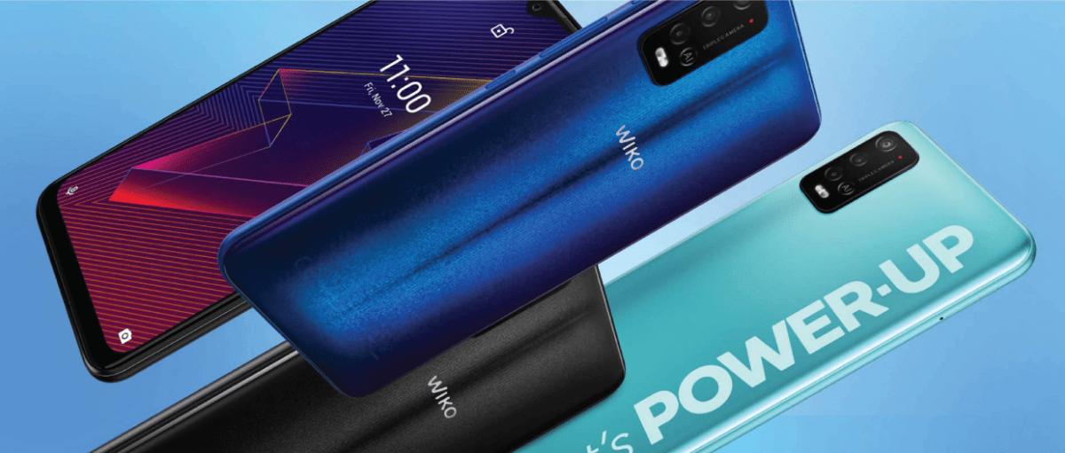 ภาพของสมาร์ทโฟน Wiko Power U20 4 เครื่อง ครบ 3 สีที่มีวางจำหน่าย คือ สีดำ น้ำเงิน และเขียวอ่อน