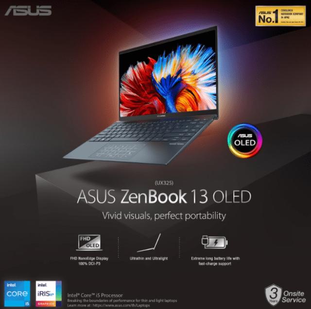 ภาพกราฟิกอธิบายฟีเจอร์ของ ASUS ZenBook 13 OLED - Vivid visuals, perfect portability นำเสนอฟีเจอร์จอ Full HD แบบ OLED, ตัวเครื่องที่บาง น้ำหนักเบา และแบตเตอรี่ที่ใช้งานได้ยาวนานต่อการชาร์จแต่ละครั้ง