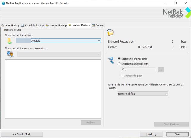 หน้าจอโปรแกรม NetBak Replicator สำหรับการตั้งค่า Instant Restore