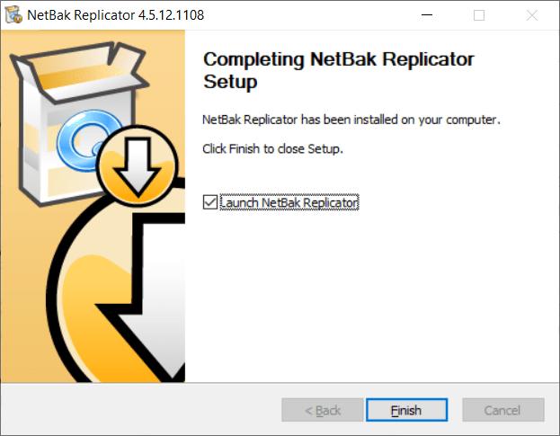 หน้าจอการติดตั้งโปรแกรม NetBak Replicator เสร็จสิ้น
