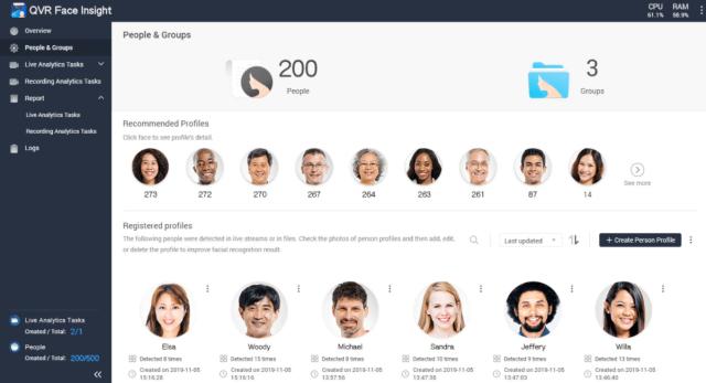 ภาพตัวอย่างหน้า Dashboard ในส่วนของ People & Groups ของโปรแกรม QVR Face Insight แสดงใบหน้าของผู้ชายและผู้หญิงที่ระบบได้บันทึกเอาไว้