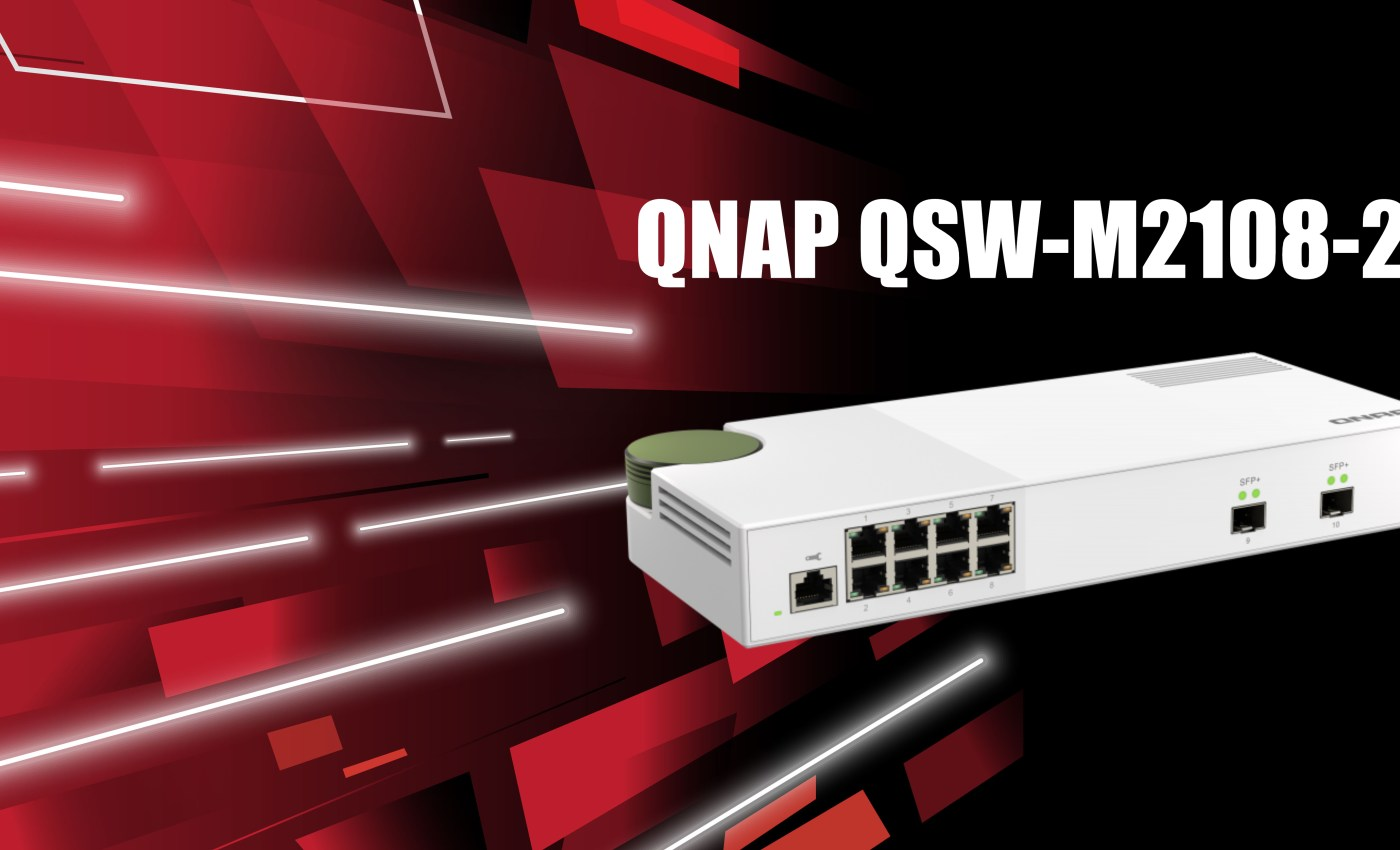 ภาพกราฟิกรูปสวิตช์ QNAP QSW-M2108-2S มีแบ็กกราวด์เป็นสีดำและแดง สไตล์ดูทันสมัย